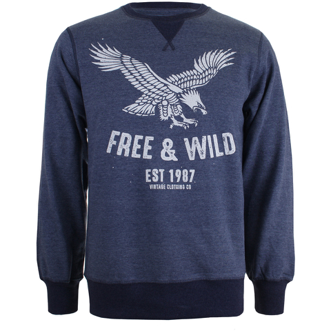 Cotton Soul Men's Free & Wild Sweatshirt - Navy Marl