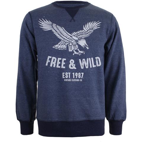 Cotton Soul Men's Free & Wild Sweatshirt - Navy Marl