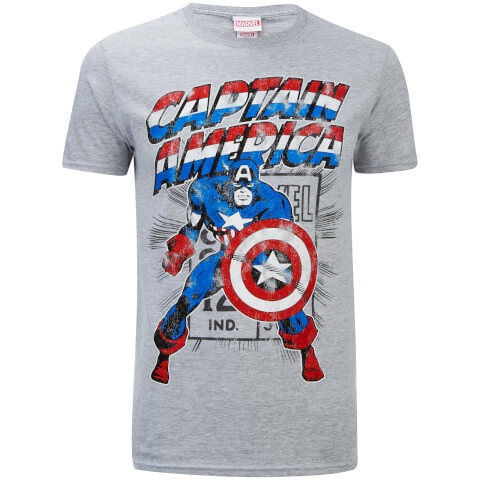 Marvel Men's Captain America Retro T-Shirt - Sports Grey