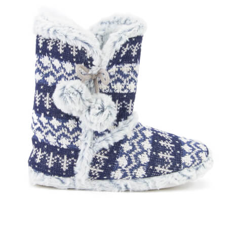 Dunlop Women's Abelle Fairisle Slipper Boots - Navy