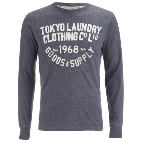 Tokyo Laundry Men's Point Hendrick Long Sleeve Top - Mood Indigo Marl