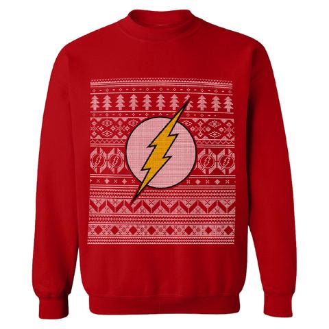 DC Comics Men's The Flash Christmas Fairisle Sweatshirt - Red