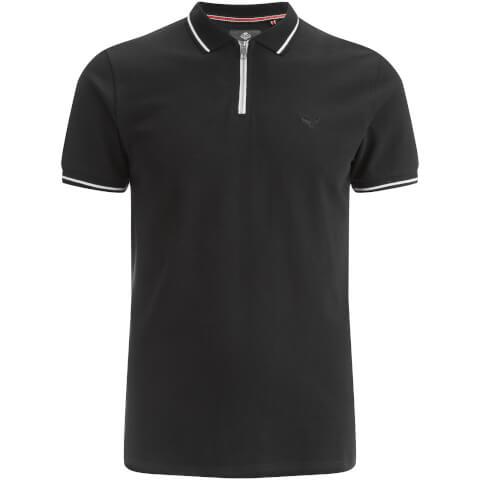 Threadbare Men's Redcar Short Sleeve Zip Polo Shirt - Black
