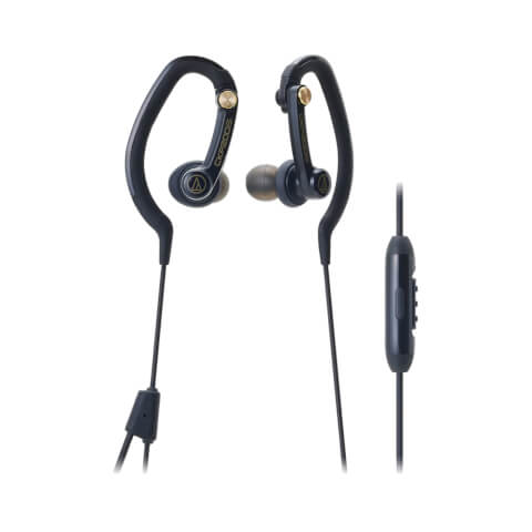 Audio-Technica Sports Hook Earphones with Mic - Black