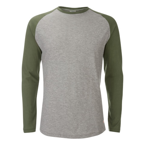 Jack & Jones Men's Originals Stan Raglan Long Sleeve Top - Light Grey/Green