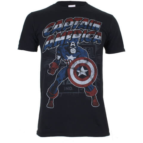 Marvel Boys' Captain America Retro Heren T-Shirt - Zwart