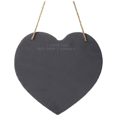 Parlane Heart Slate Memo Board - Black (30 x 29cm)