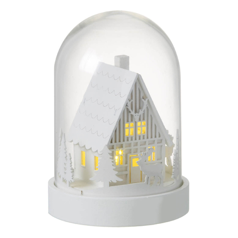 Parlane Winter House LED Glass Dome - White (30 x 29cm)