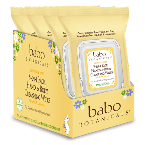 Babo 3-in-1 Sensitive Baby Face, Hand, Body Wipes - Oatmilk & Calendula (4 Pack)
