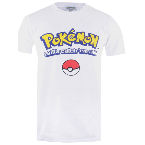 T-Shirt Homme Pokémon Logo Gotta Catch Em All - Blanc