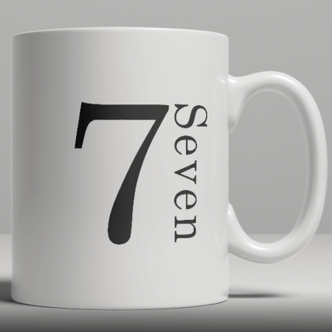 Alphabet Ceramic Mug - Number 7