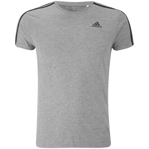 adidas Men's Sports Essential 3 Stripe T-Shirt - Light Grey Marl