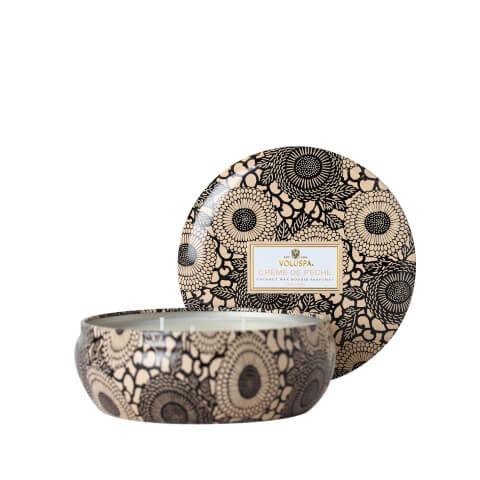 Voluspa Japonica 3 Wick Candle in Decorative Tin - Creme de Peche