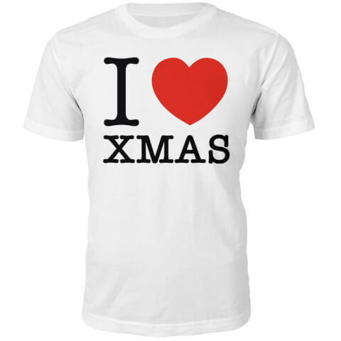 T-Shirt I Heart Xmas Christmas -Blanc