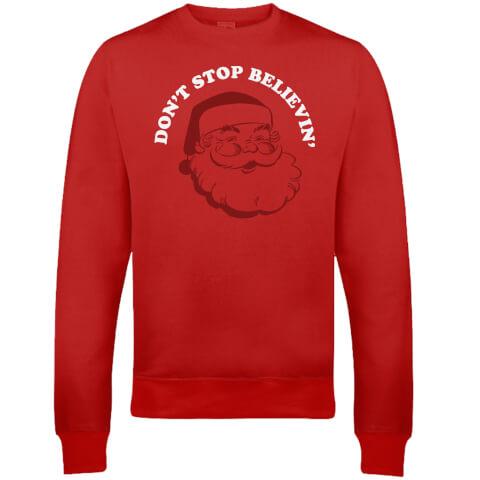 Don't Stop Believin' Christmas Sweatshirt - Red