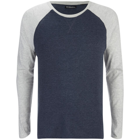 Brave Soul Men's Osbourne Raglan Long Sleeve Top - Dark Navy Marl