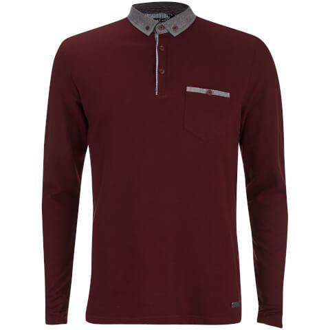 Brave Soul Men's Hera Long Sleeve Polo Shirt - Burgundy
