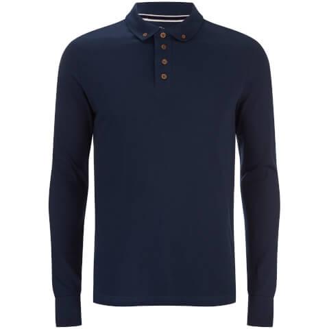 Brave Soul Men's Lincoln Long Sleeve Polo Shirt - Ocean Blue