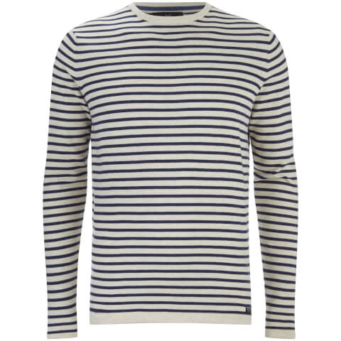 Threadbare Men's Carina Stripe Crew Neck Jumper - Stone