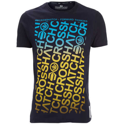 T-Shirt Homme Noremac Faded Logo Crosshatch -Bleu Nuit