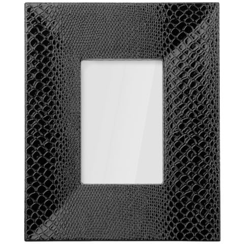 Snake Leather Effect Veneer Photo Frame 4 x 6 - Black