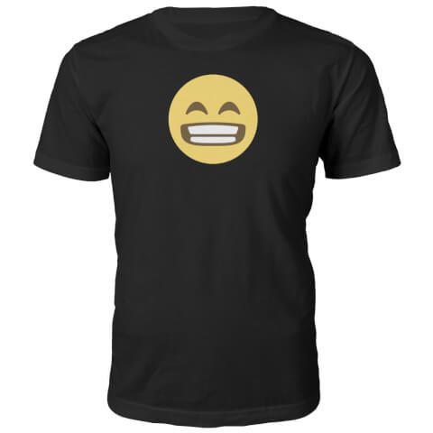 Emoji Unisex Wide Grin T-Shirt - Black