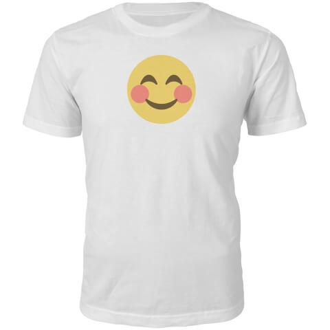 Emoji Unisex Blush Face T-Shirt - White