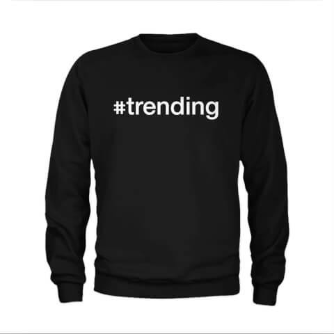 #Trending Slogan Sweatshirt - Black