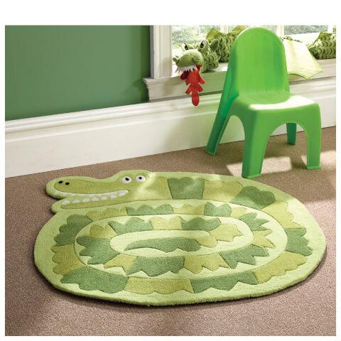 Flair Kiddy Play Rug - Crocodile Green (90X90)