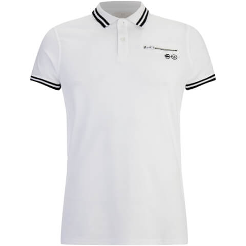 Crosshatch Men's Crazer Tipped Pique Polo Shirt - White