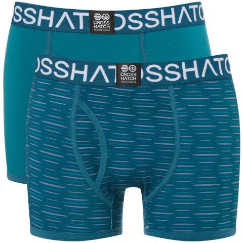 Crosshatch Men's 2 Pack Syntho Boxer Shorts - Deep Lake