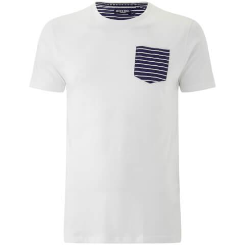 Brave Soul Men's Generate Stripe Pocket T-Shirt - White
