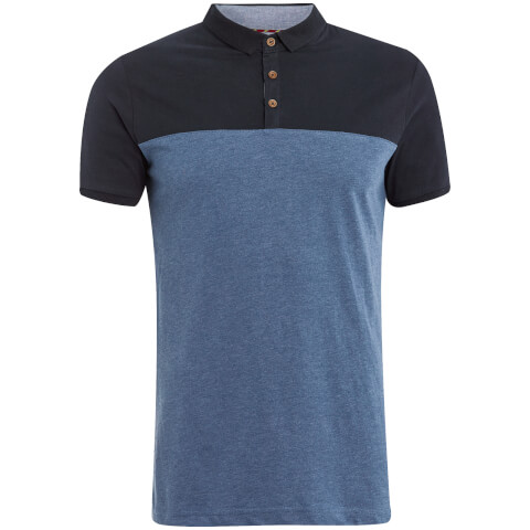 Brave Soul Men's Ceaser Panel Polo Shirt - Vintage Blue Marl