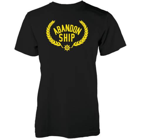 T-Shirt Homme Golden Crest Logo Abandon Ship -Noir