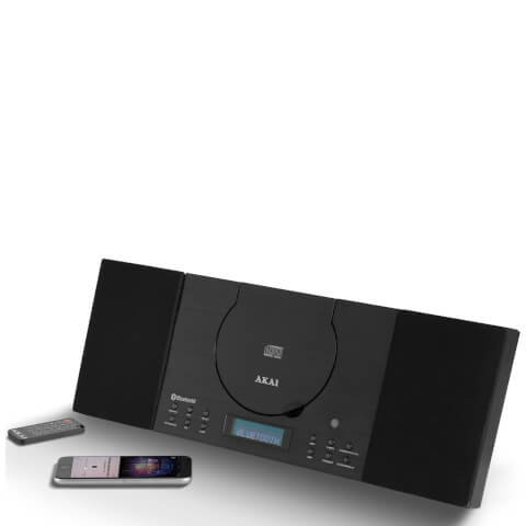 Akai Wall Mountable Home Audio Bluetooth System (CD, MP3, FM, LCD, Alarm) - Black