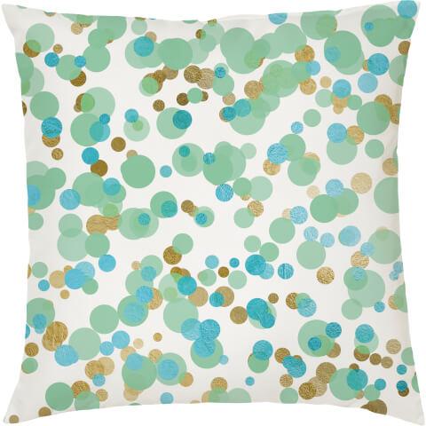 Confetti Print Cushion - Green and Turquiouse