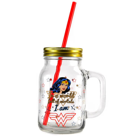 Bocal à Paille Mason Jar - Wonder Woman (Étoiles)