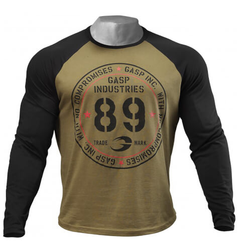 GASP Raglan Long Sleeve T-Shirt - Military Olive/Black