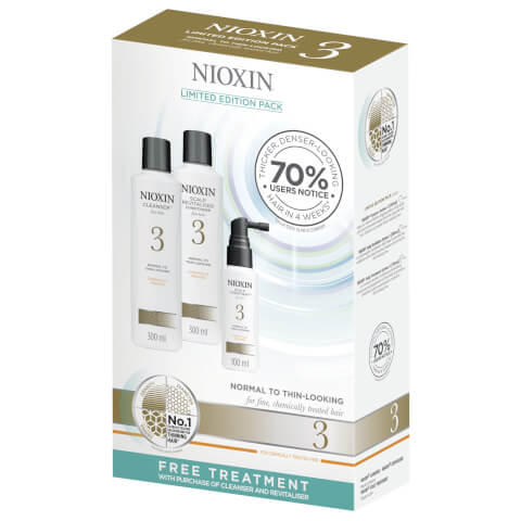 NIOXIN System 3 Cleanser And Conditioner 2 x 300ml With Free 100ml Treatment
