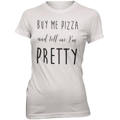 T-Shirt Buy Me Pizza -Blanc