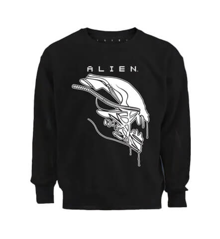 Alien Xenomorph Stencil Print Black Sweatshirt