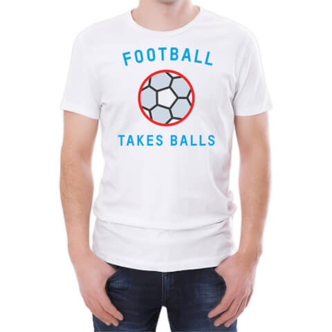 T-Shirt Homme Football Takes Balls -Blanc