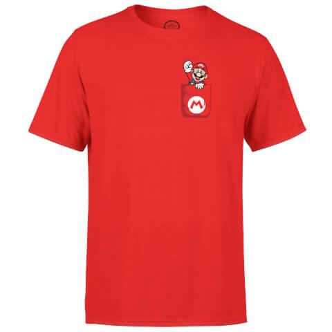 T-Shirt Homme Nintendo Super Mario Mario Poche -Rouge