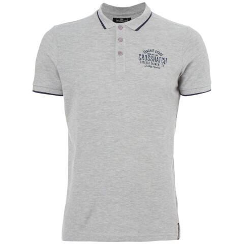 Crosshatch Men's Seton Polo Shirt - Light Grey Marl