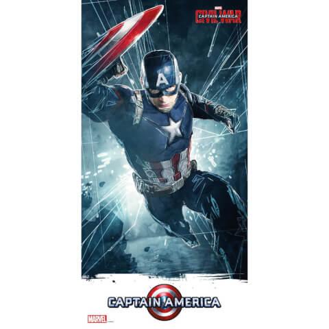 Captain America Civil War Glass Poster - Captain America (60 x 30cm)