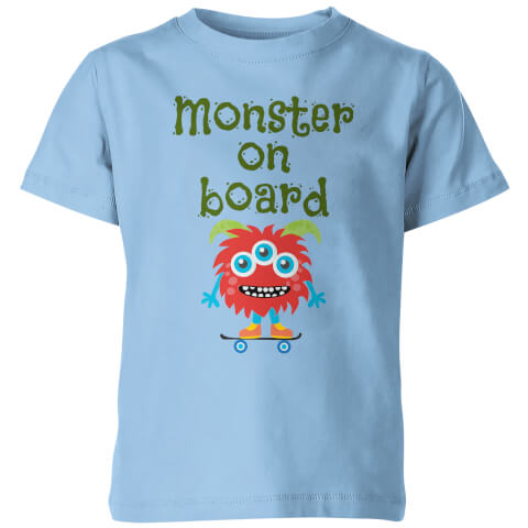 Monster On Board Kid's Blue T-Shirt