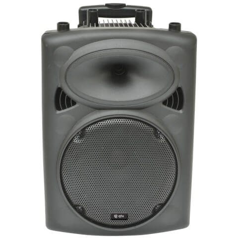 QTX QR10 Portable PA System with Built-in Trolley - Black (USB/SD/FM/Remote)