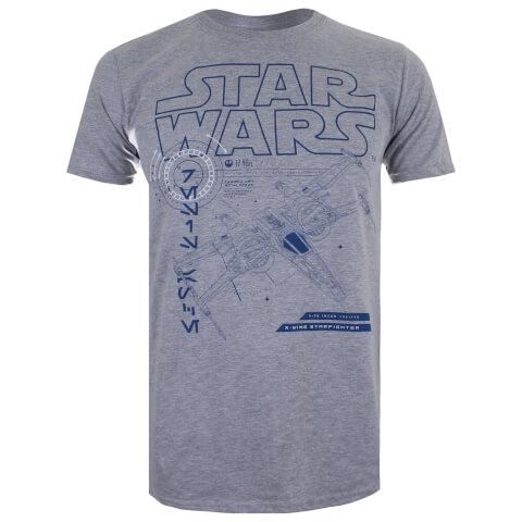 Star Wars Men's The Last Jedi X-Wing T-Shirt - Light Grey Marl