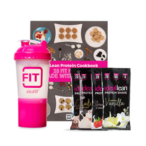 4 IdealLean Protein Packs + IdealFit Shaker Bottle + Protein Recipes eBook
