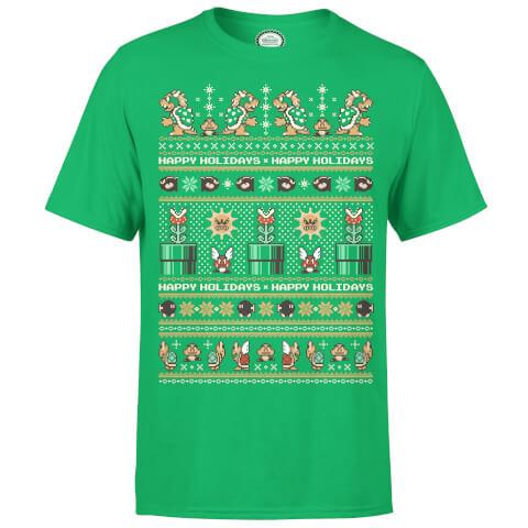 Nintendo Super Mario Mario Bad Guys Christmas Green T-Shirt